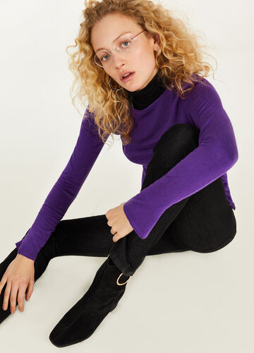 Solid colour T-shirt in silk and cotton
