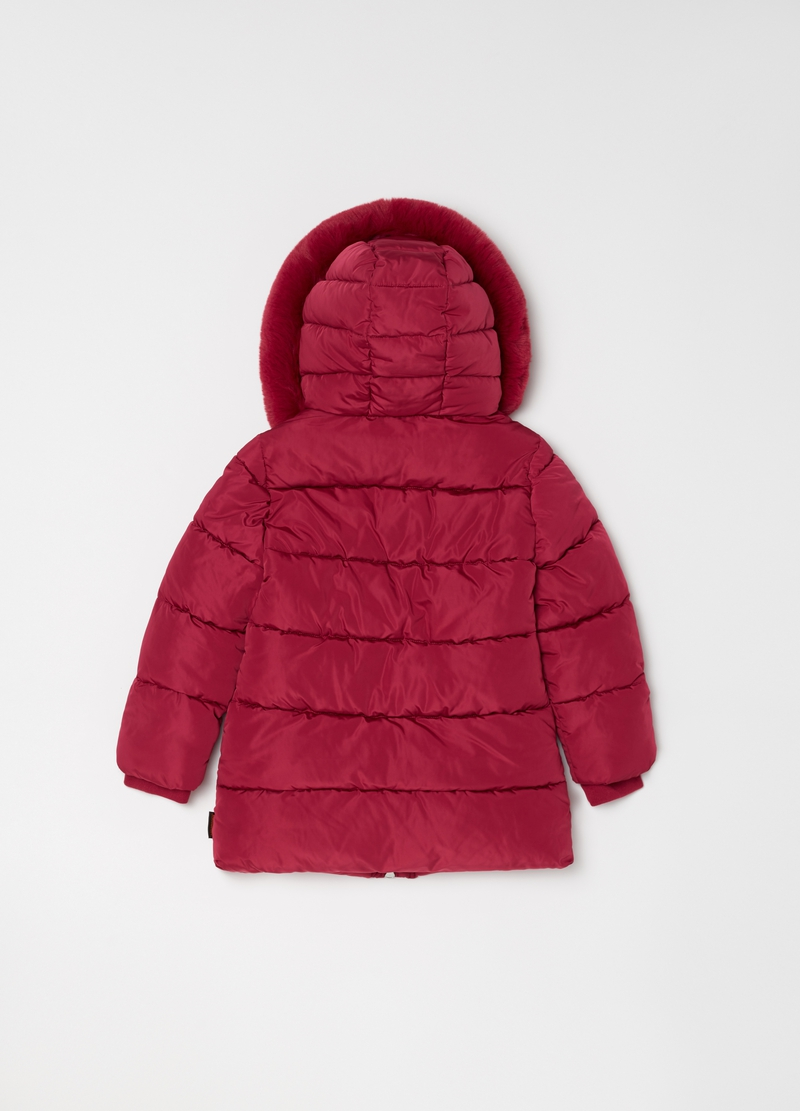 Quilted jacket with hood and pockets image number null