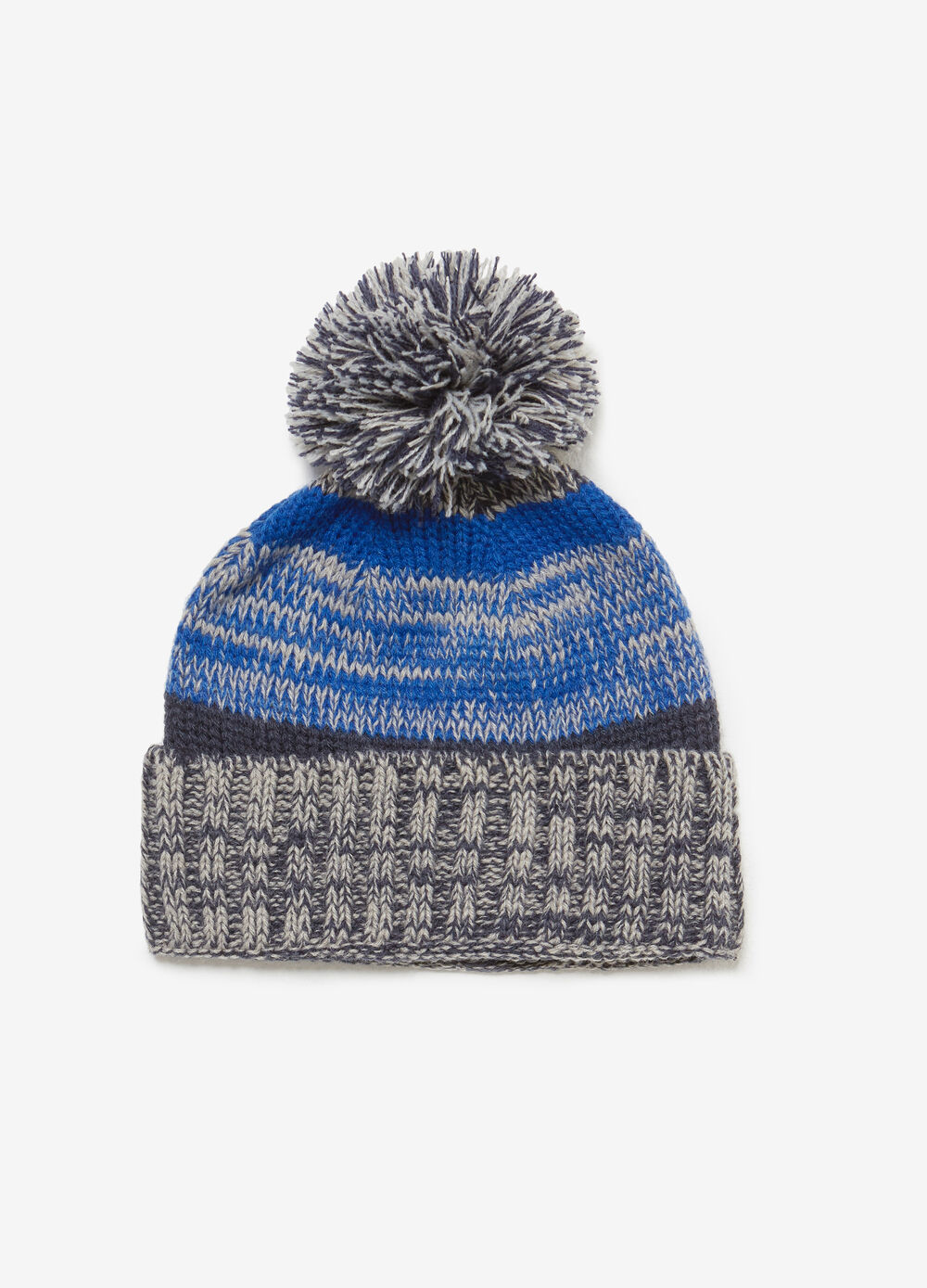 Beanie beret with turn up and pompom