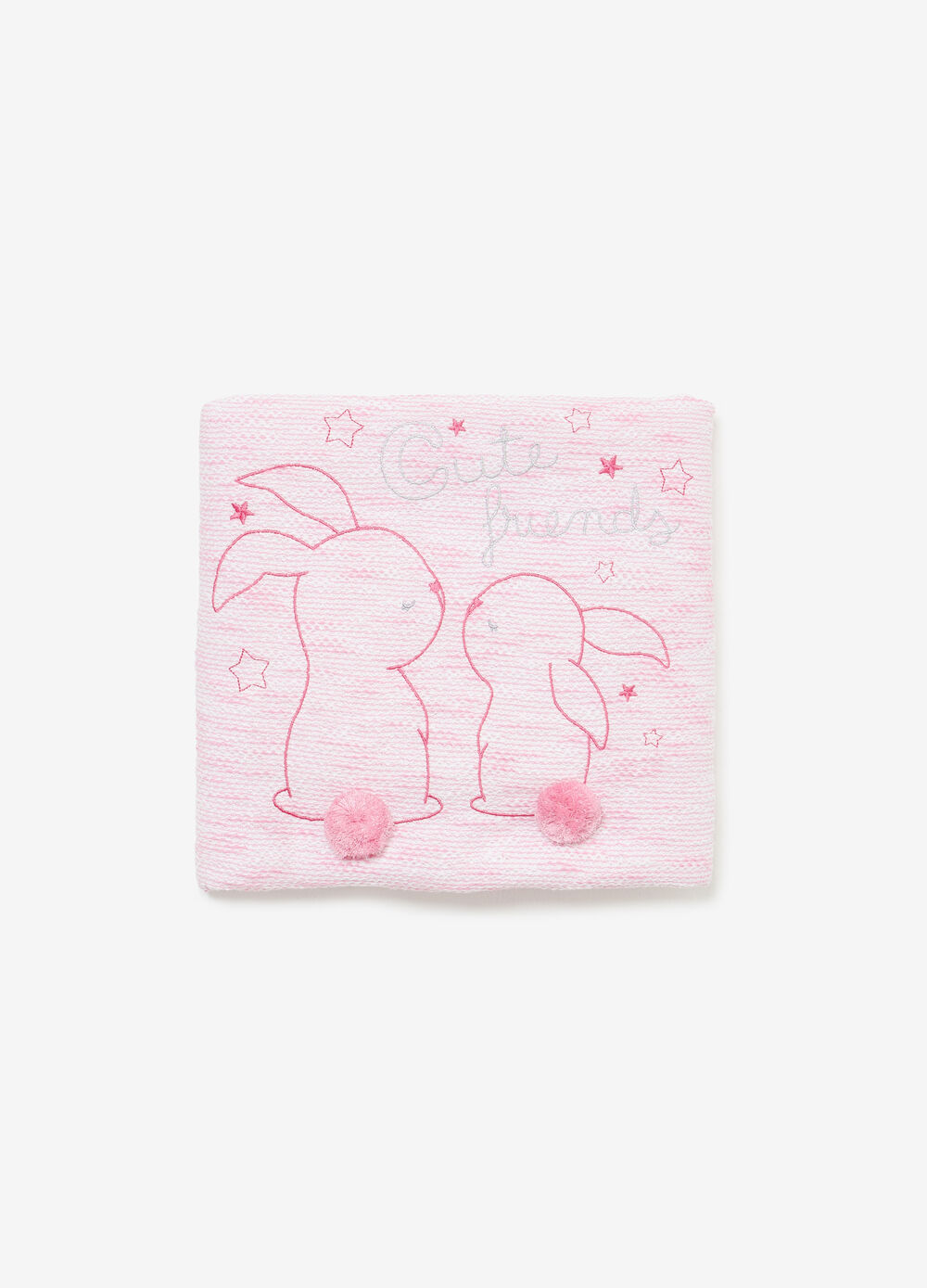 100% cotton blanket with rabbit embroidery