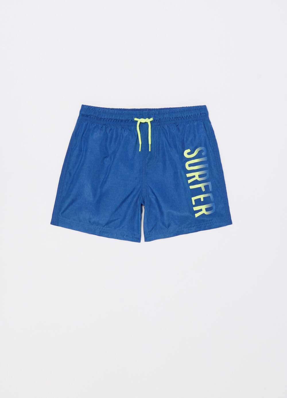 Boxer shorts with pocket, print and drawstring