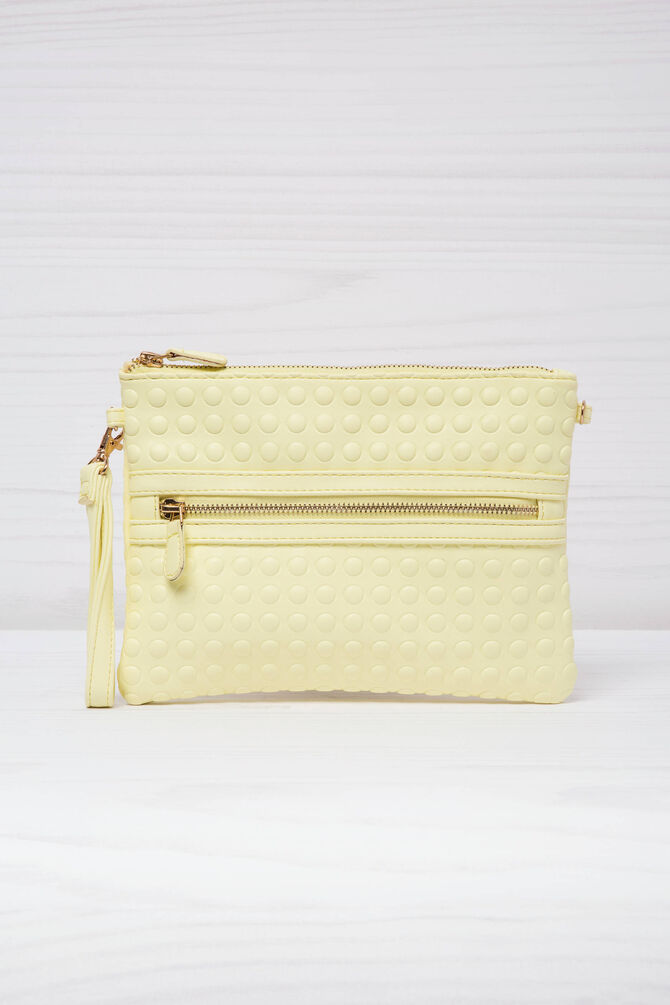 Leather look clutch with shoulder strap.