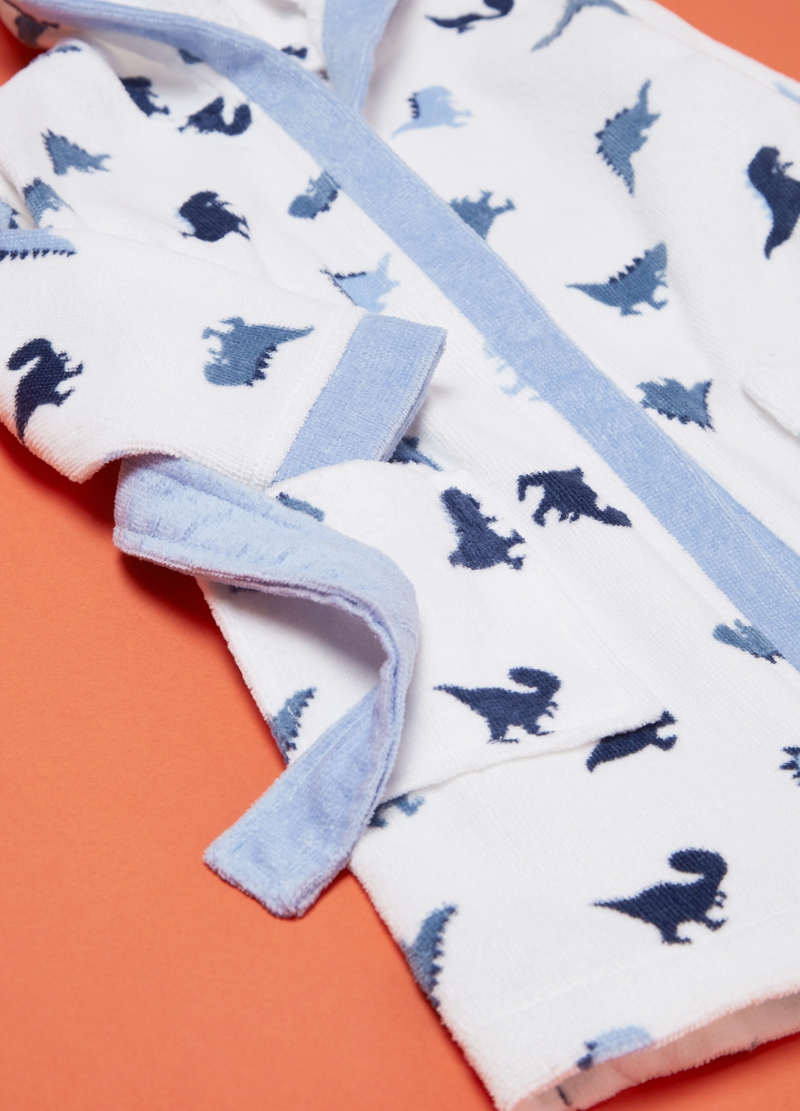 100% cotton bathrobe with dinosaur pattern image number null