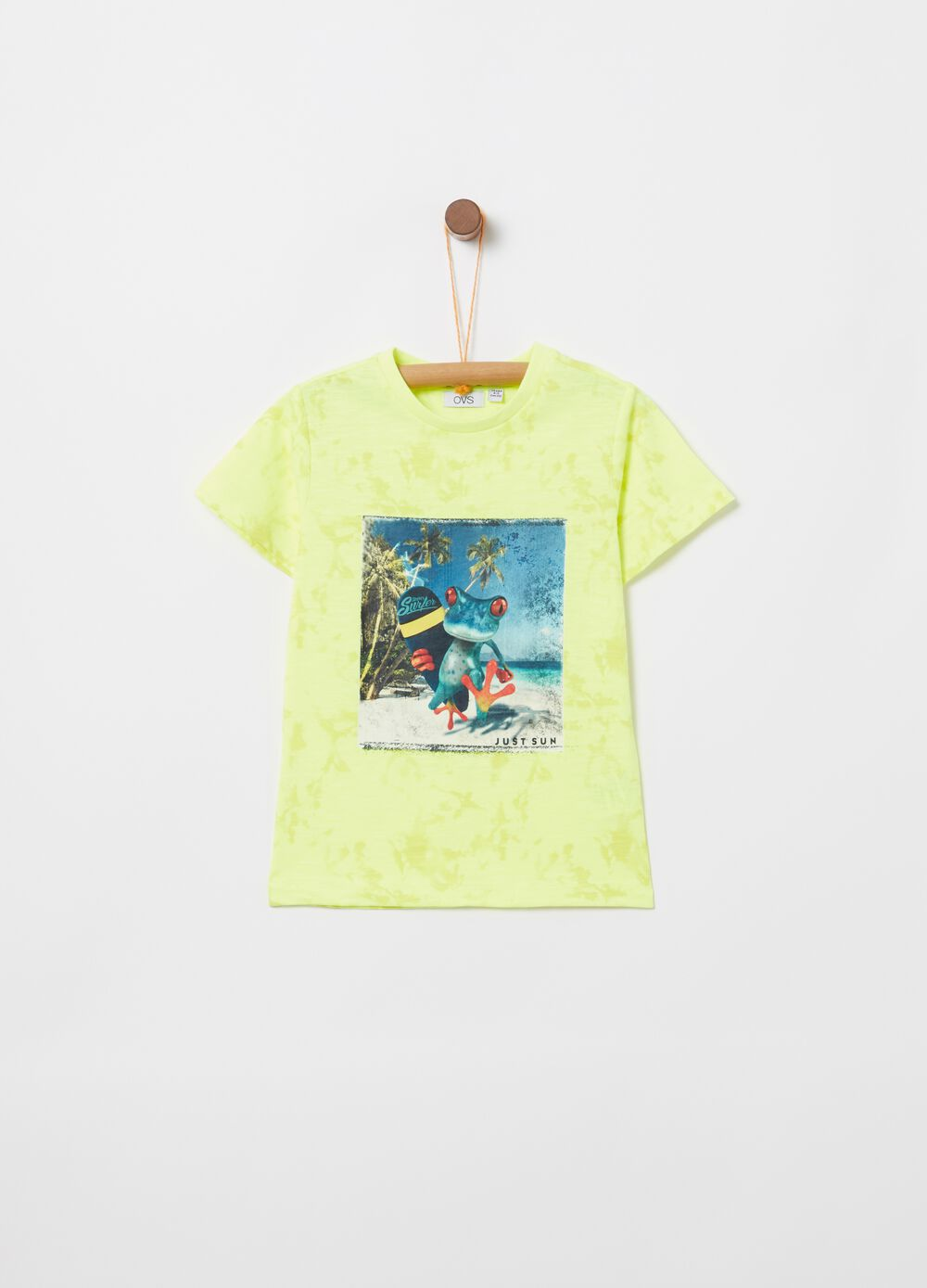 Misdyed-effect T-shirt with print