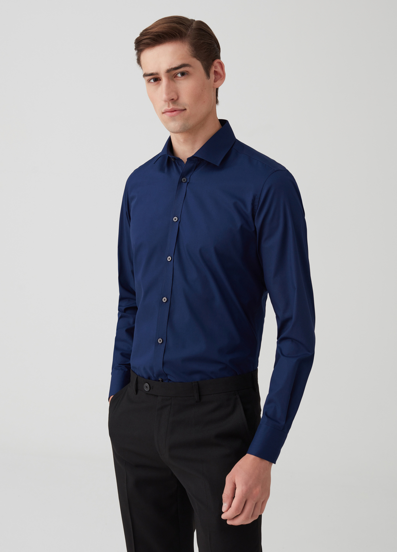 Camicia slim fit con colletto classico image number null