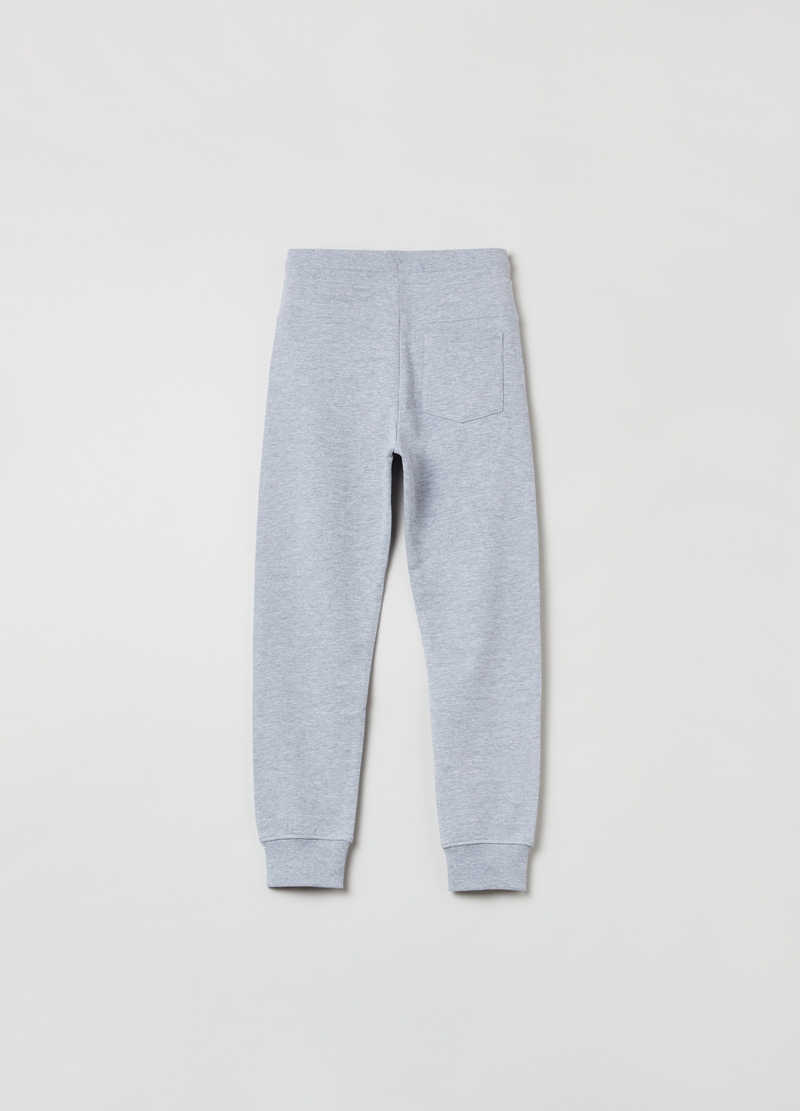 Joggers in cotone mélange con coulisse image number null
