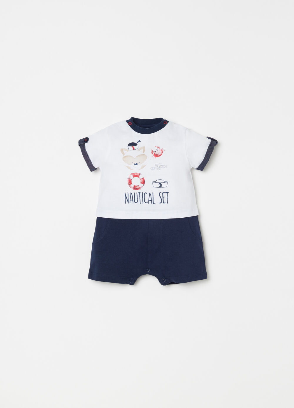 Short onesie with print, embroidery and applications