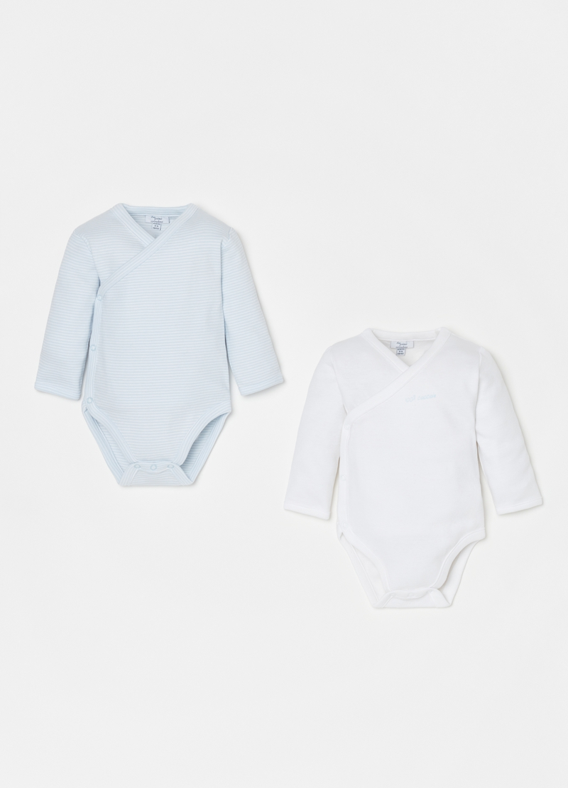 Two-pack 100% cotton bodysuits with long sleeves image number null