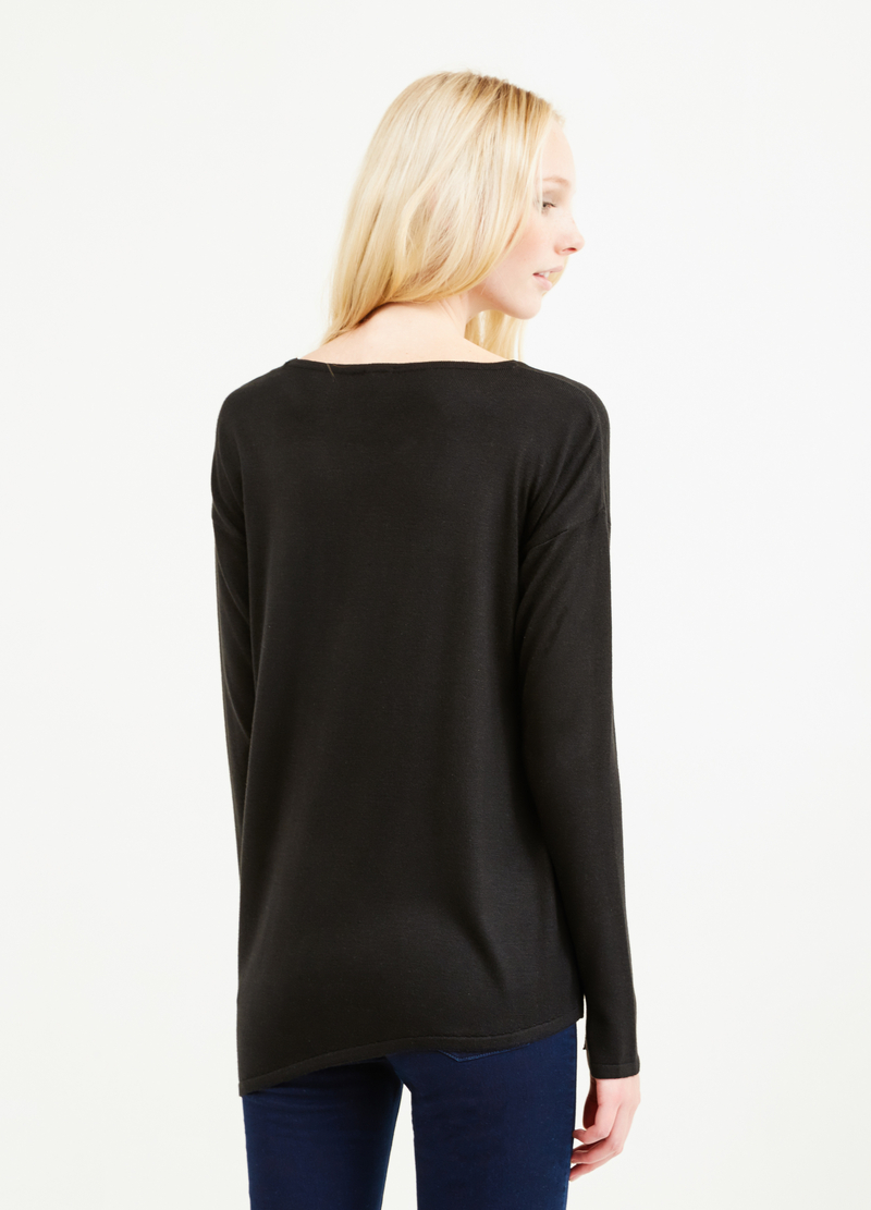 Viscose pullover with asymmetrical hem image number null