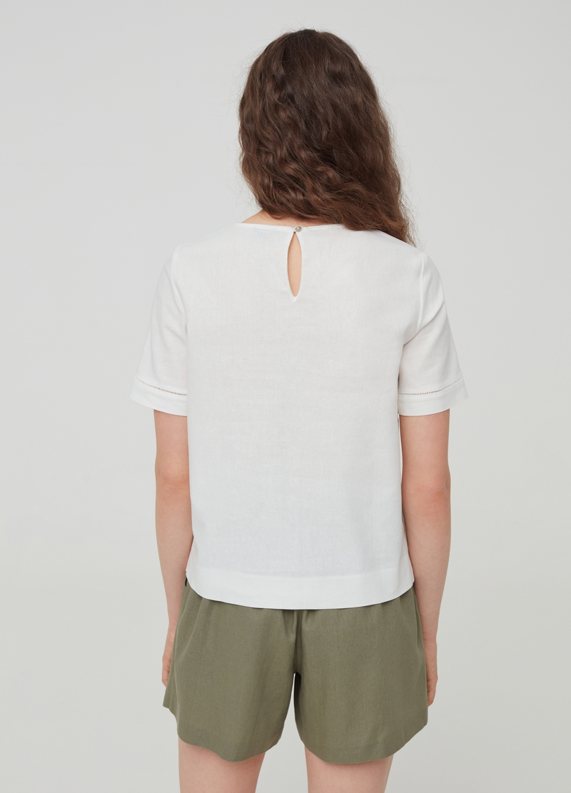 Solid colour blouse in linen and viscose image number null