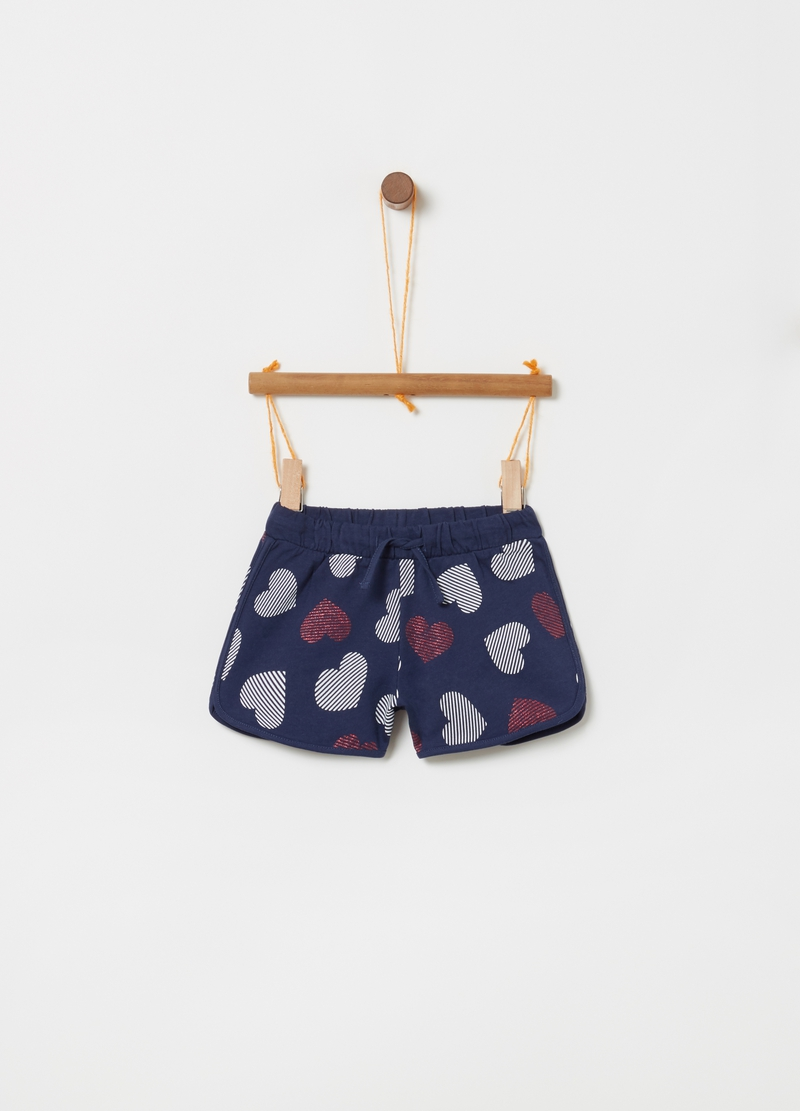 Shorts in cotone stampa a cuori all-over image number null