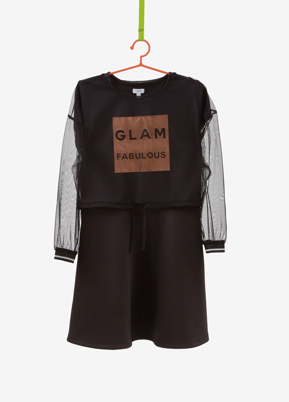 Solid colour dress with lettering print