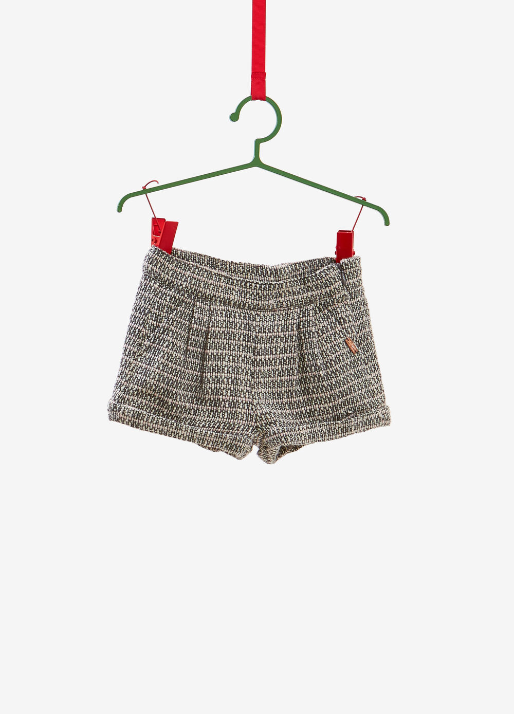 Shorts with zip, weave and striped pattern
