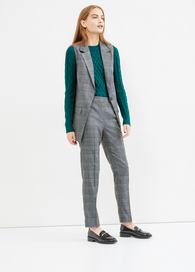 Long stretch waistcoat with check pattern image number null