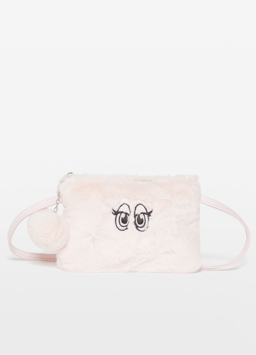 Shoulder bag in faux fur with embroidery