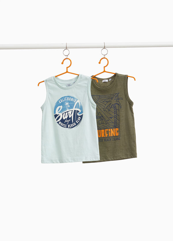 Two-pack cotton vests with print