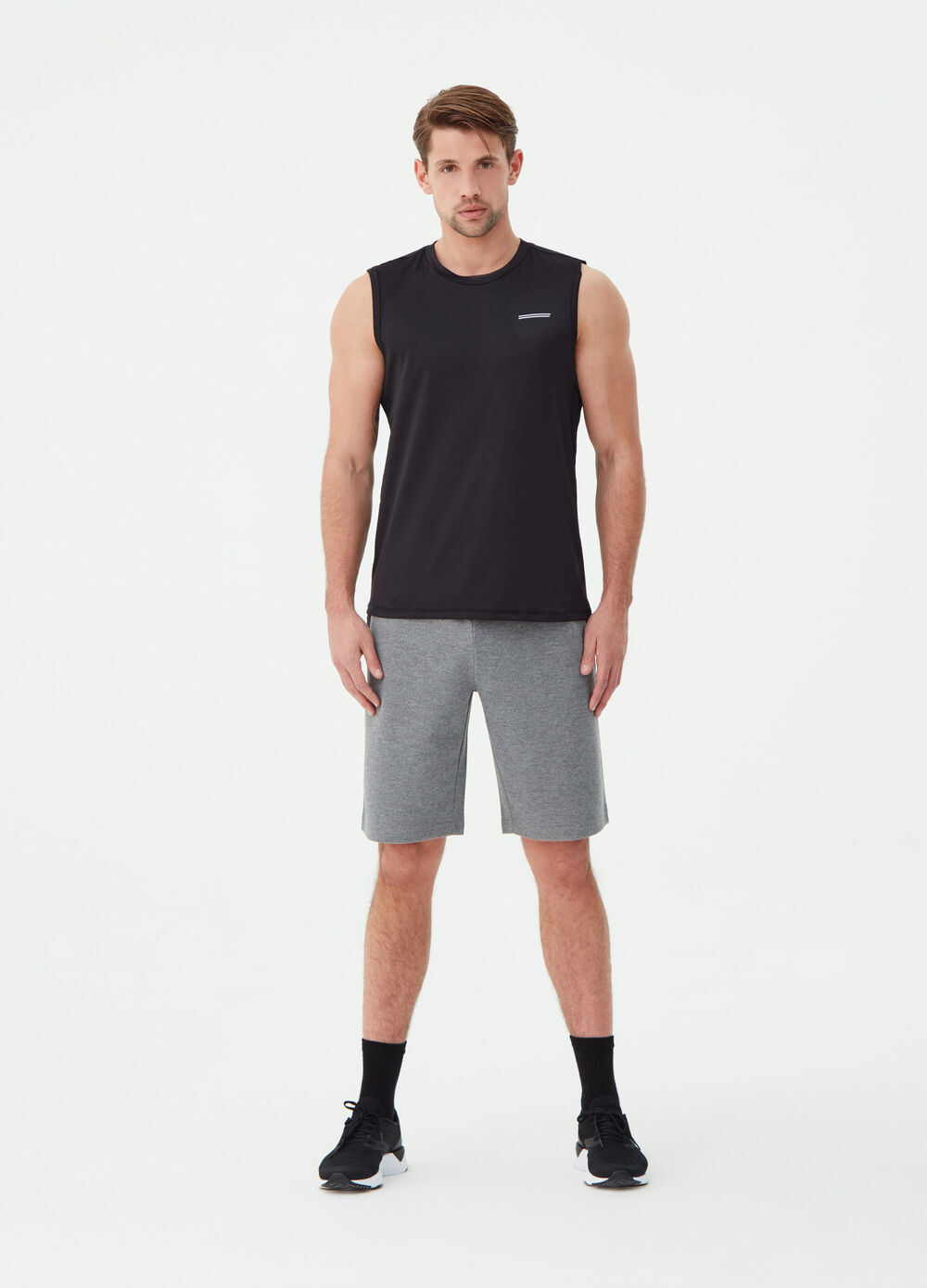 Mélange gym Bermuda shorts in cotton blend