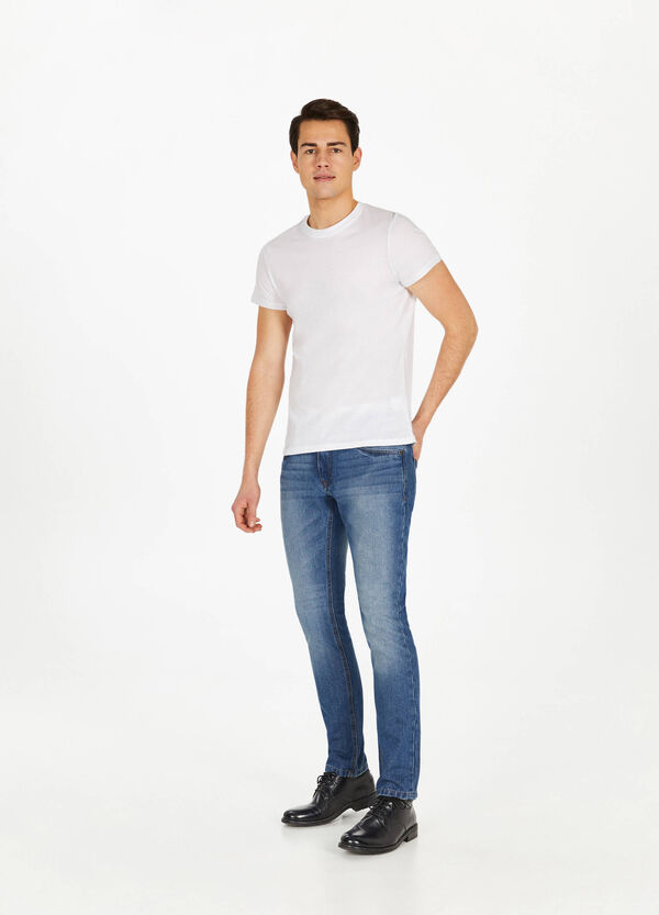 Jeans slim fit used con scoloriture