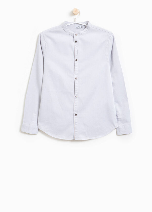 Camicia con colletto coreano in cotone