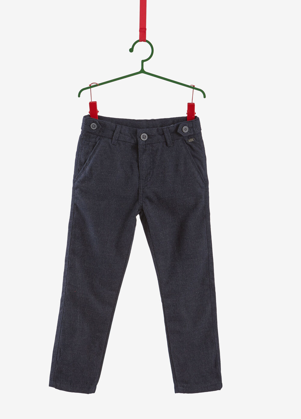 Micro check trousers in cotton blend