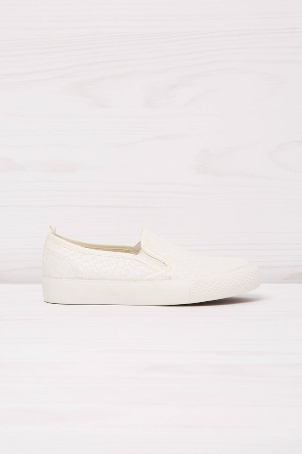 Solid colour slip-ons with woven motif   OVS