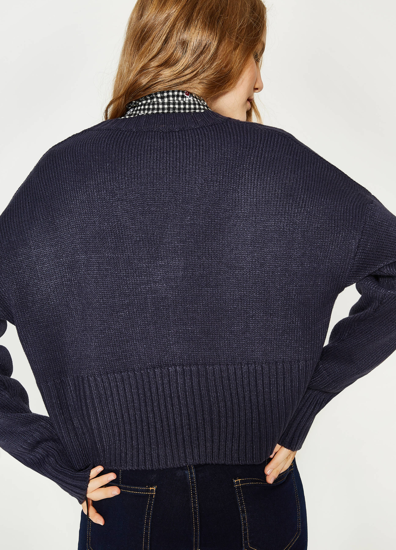 Cardigan crop lavorato tricot image number null