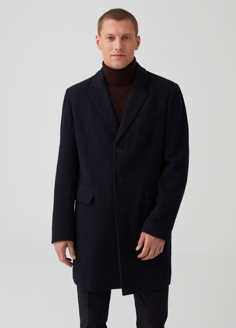 Wool blend coat with check pattern image number null