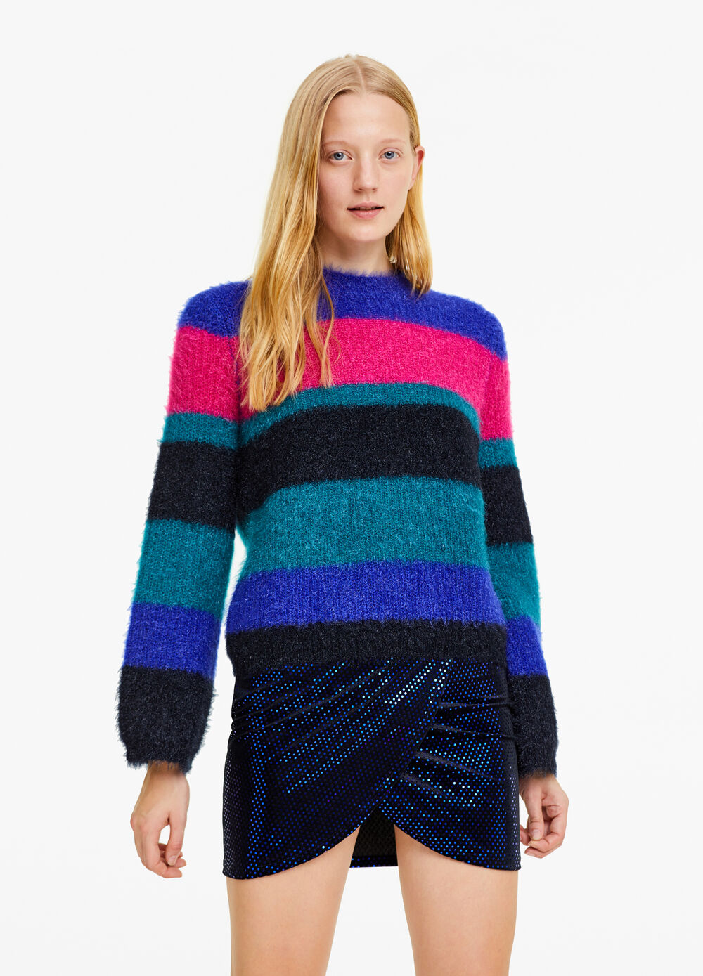 Frayed-effect knitted pullover