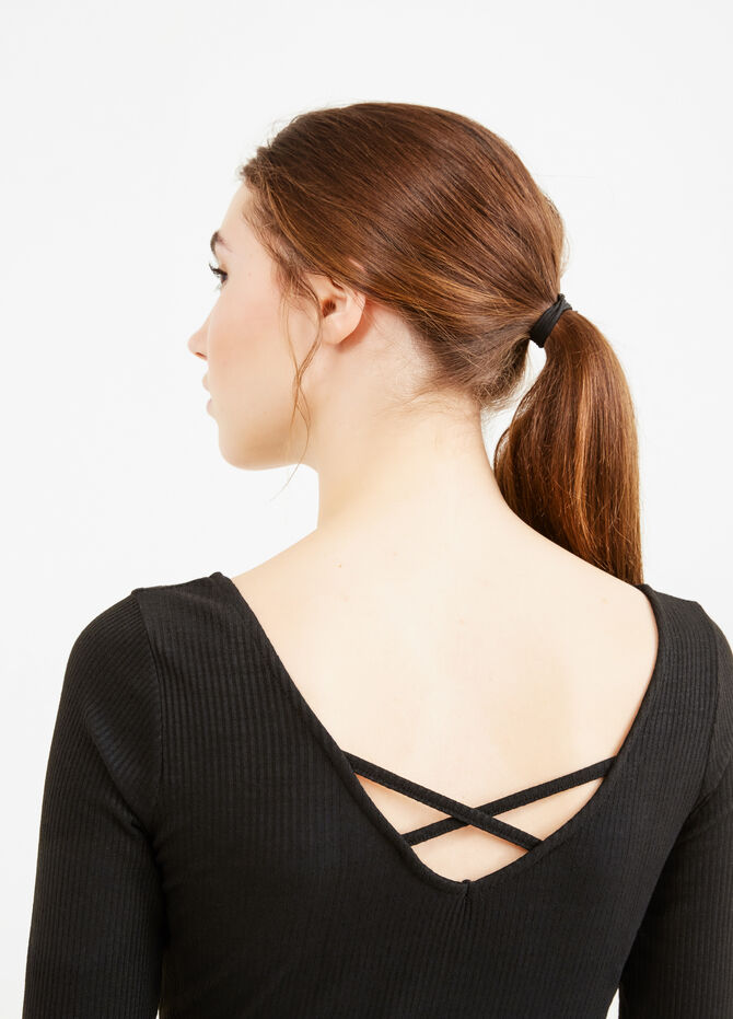 Ribbed bodysuit with ties on the back