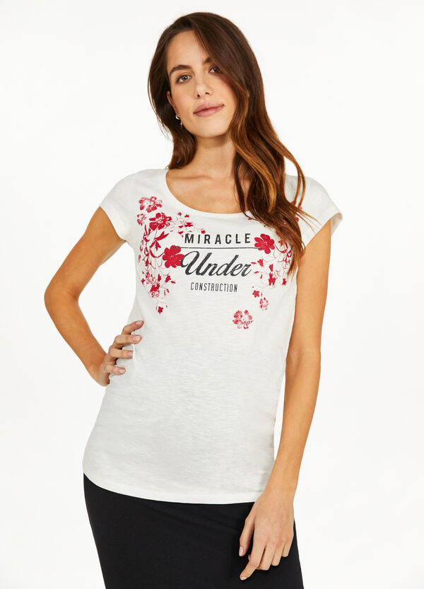 MUM cotton T-shirt with floral lettering