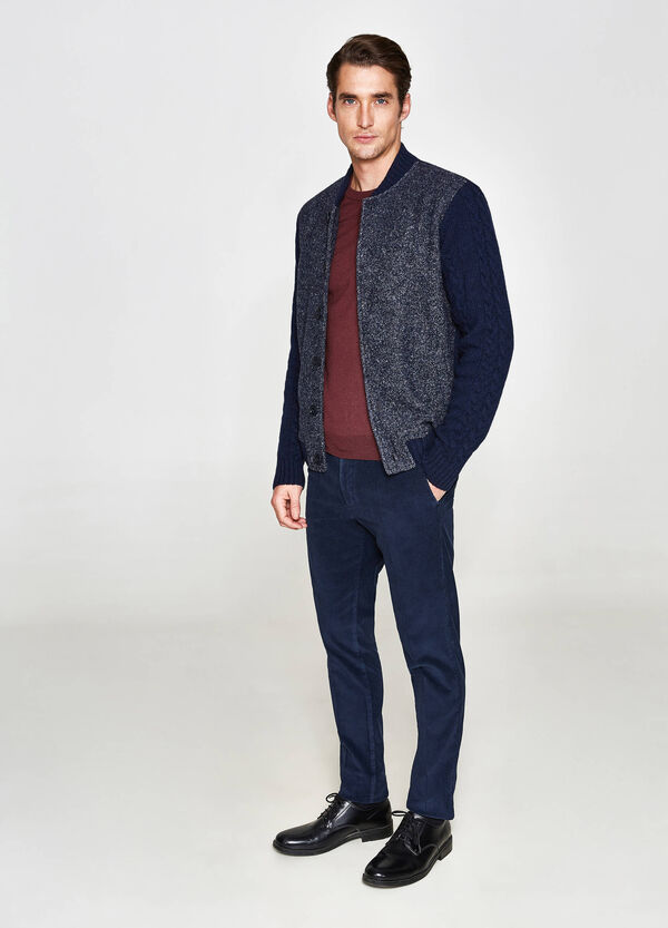 Rumford cardigan with cable knit sleeves