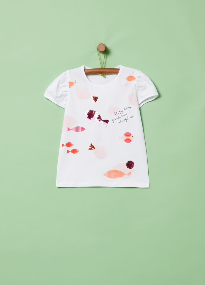 T-shirt with sequins and fish print image number null