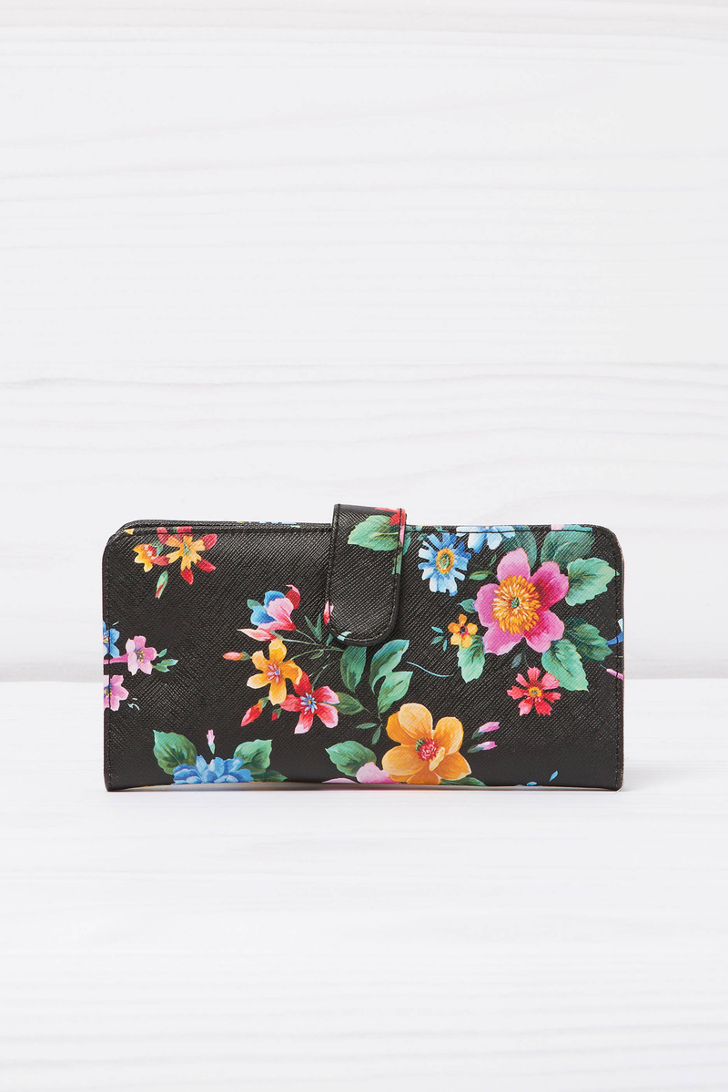 Leather look wallet with floral pattern image number null