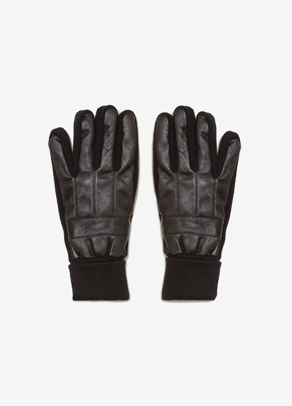 Solid colour real leather gloves