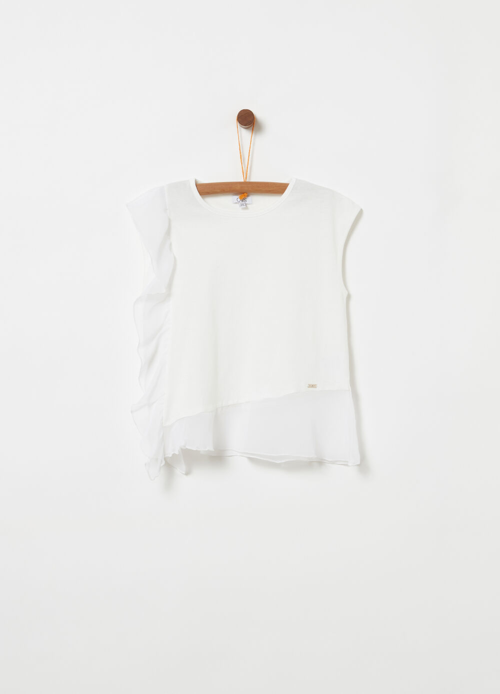 Sleeveless T-shirt with georgette flounce