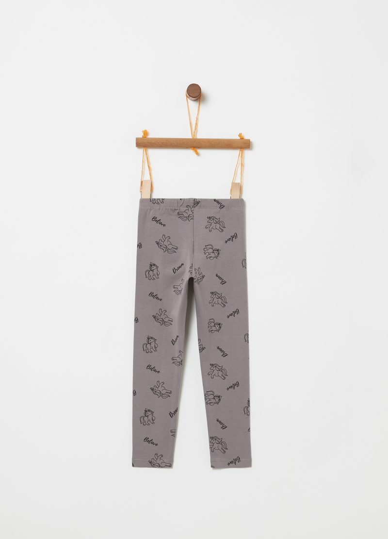 Leggings in cotone stretch con unicorni image number null
