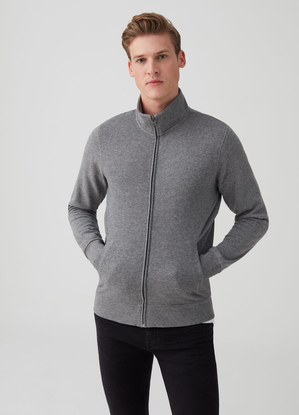 Mélange sweatshirt with pockets and zip