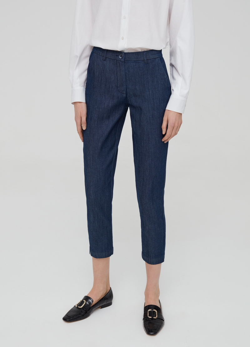 Chino in denim stretch con tasche image number null