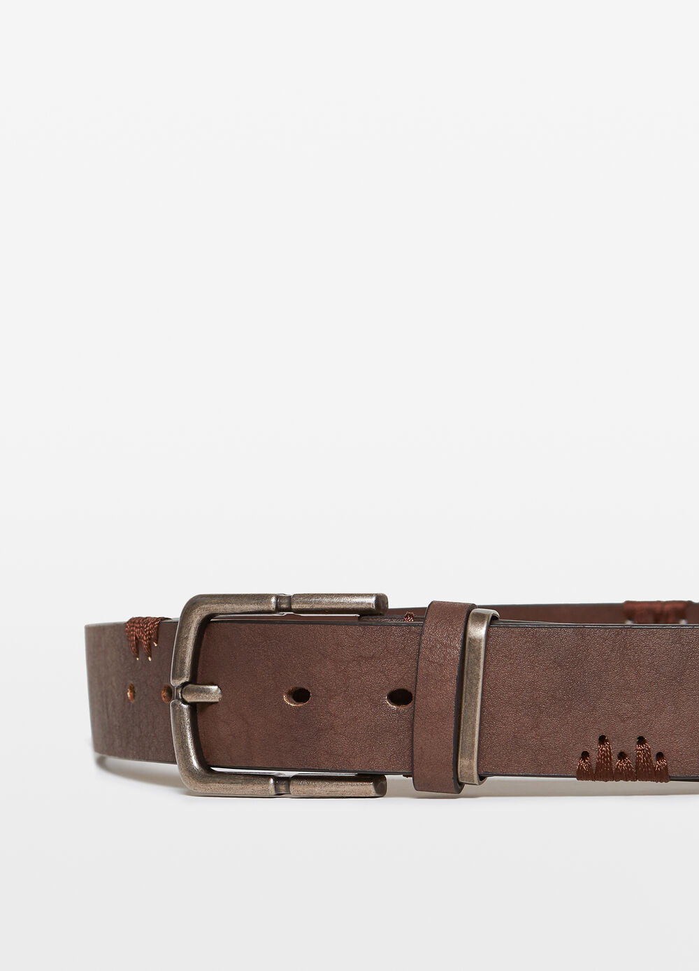 Belt with hand-stitched inserts
