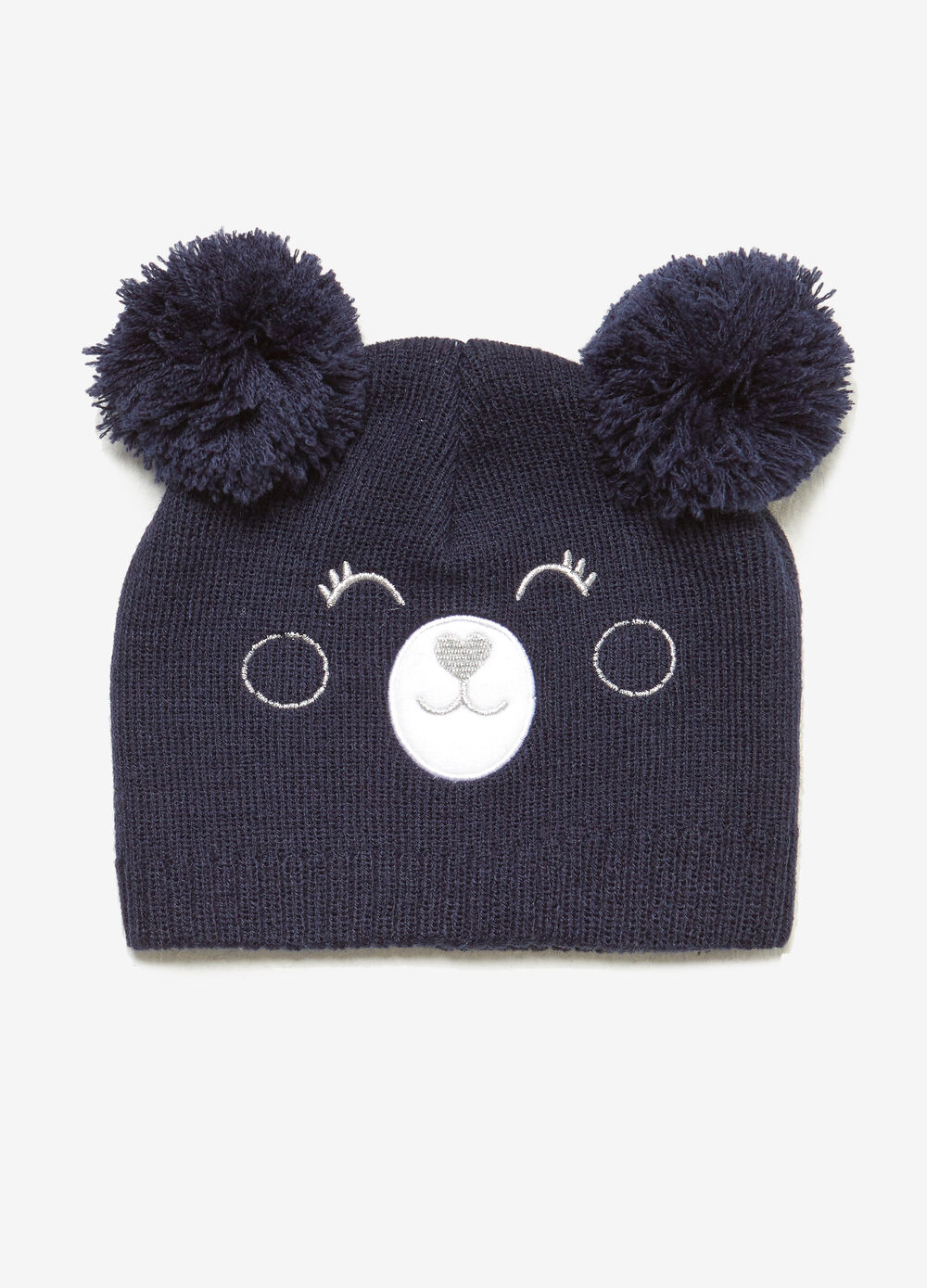 Hat with pompoms and animal patch