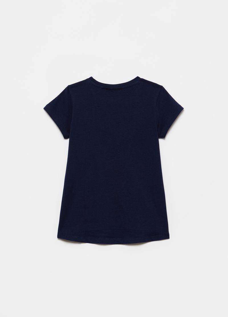 Stretch T-shirt with print and diamantés image number null