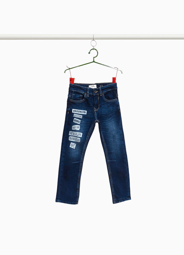 Jeans stretch con stampa lettering