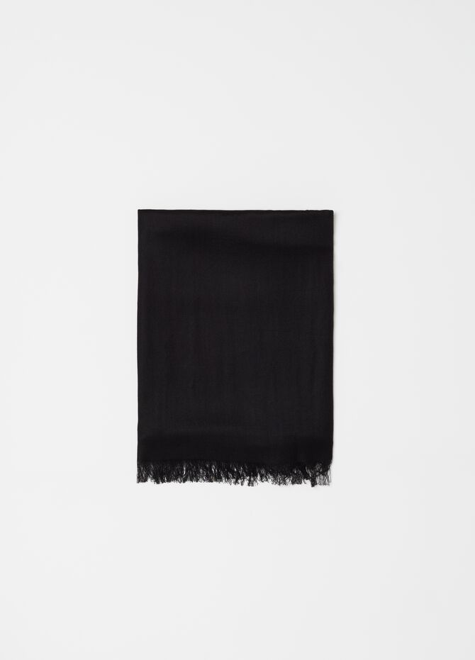 Fringed pashmina with natural fibres