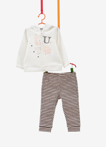 Tracksuit in cotton with glitter pattern and hearts print