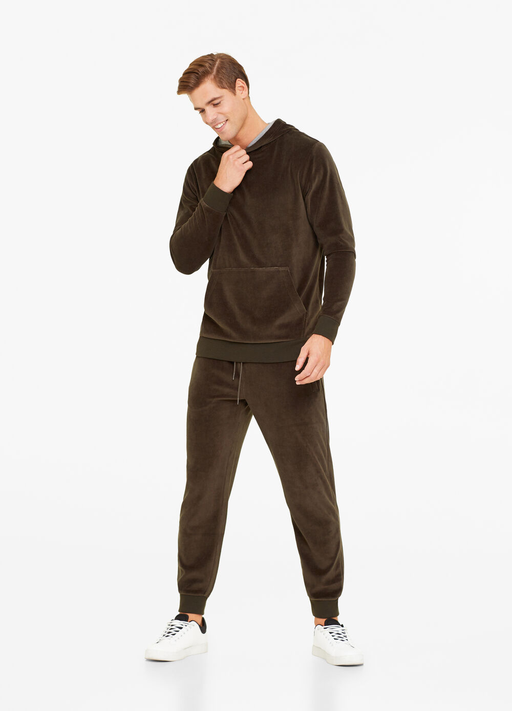 Solid colour chenille trousers