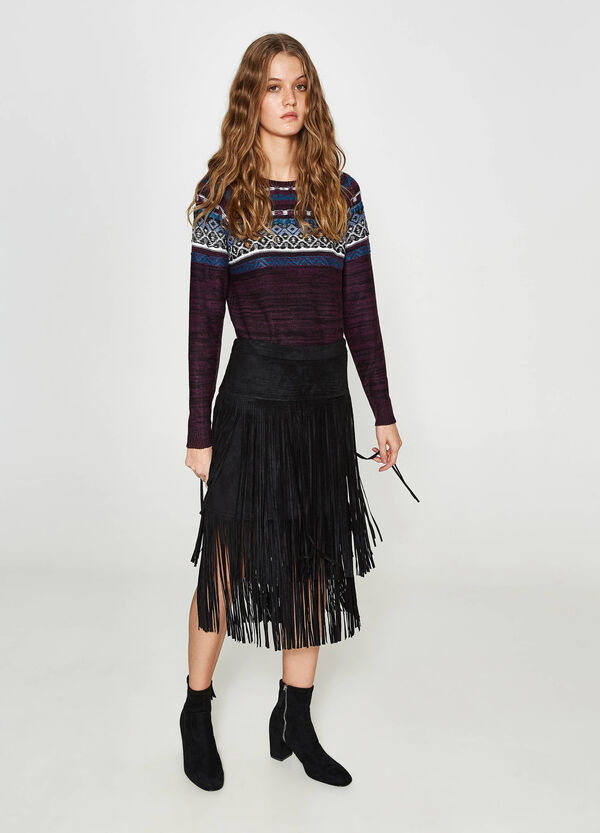 High waist stretch skirt with long fringes
