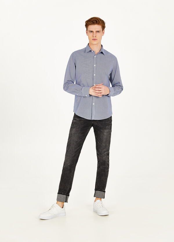 Micro-check casual cotton shirt