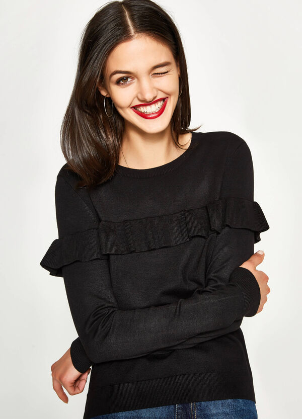Viscose pullover with flounce | OVS