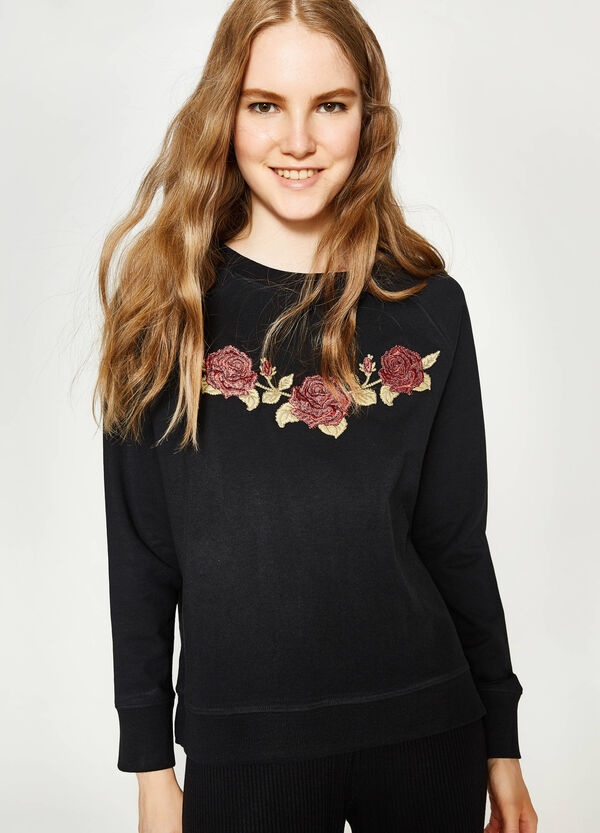 100% cotton sweatshirt with embroidery | OVS