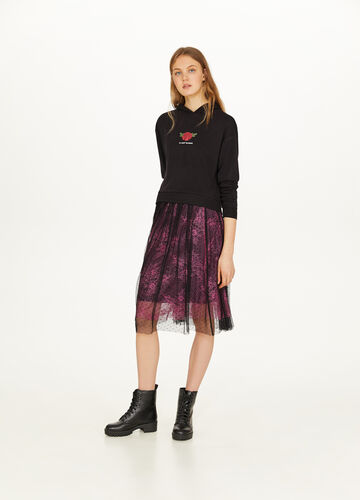 Two-tone skirt in stretch cotton blend